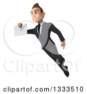 Clipart Of A 3d Happy Young White Businessman Flying And Holding An Envelope Royalty Free Illustration
