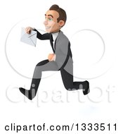 Clipart Of A 3d Happy Young White Businessman Sprinting To The Left And Holding An Envelope Royalty Free Illustration