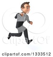 Clipart Of A 3d Happy Young White Businessman Sprinting To The Right And Holding An Envelope Royalty Free Illustration