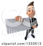 Clipart Of A 3d Happy Young White Businessman Holding Up And Pointing To An Envelope Royalty Free Illustration