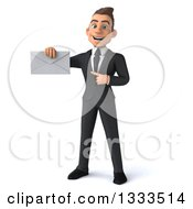 Clipart Of A 3d Happy Young White Businessman Holding And Pointing To An Envelope Royalty Free Illustration
