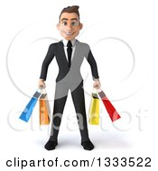 Clipart Of A 3d Happy Young White Businessman Holding Shopping Bags Royalty Free Illustration