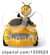 Clipart Of A 3d Happy Male Bee Giving A Thumb Up And Driving A Yellow Convertible Car Royalty Free Illustration