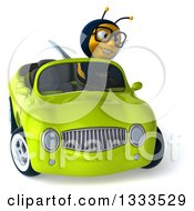 Clipart Of A 3d Happy Bespectacled Male Bee Driving A Green Convertible Car Royalty Free Illustration