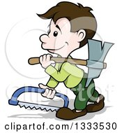 Clipart Of A Cartoon Brunette White Male Carpenter Walking With A Saw And Axe Royalty Free Vector Illustration by dero