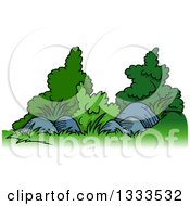 Clipart Of Cartoon Shrubs And Rocks Royalty Free Illustration by dero