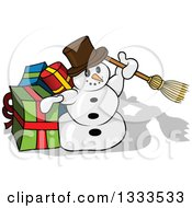 Clipart Of A Cartoon Snowman Holding Up A Broom By Presents Royalty Free Vector Illustration by dero