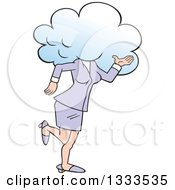 Clipart Of A Cartoon White Business Woman Walking With Her Head In The Clouds Royalty Free Vector Illustration