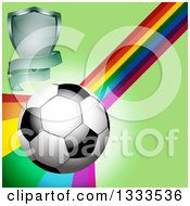 Clipart Of A 3d Shiny Soccer Ball With A Shield Banner And Rainbow Curve On Green Royalty Free Vector Illustration