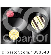 Clipart Of A Background Of 3d Music Vinyl Records With Patterned Centers Royalty Free Vector Illustration by elaineitalia
