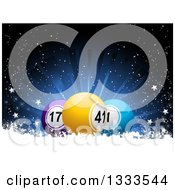 Clipart Of 3d Bingo Or Lottery Balls In Snow With Stars And A Blue Burst Royalty Free Vector Illustration