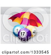 Clipart Of 3d Bingo Or Lottery Balls Being Sheltered From The Rain With An Umbrella Royalty Free Vector Illustration