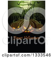 Clipart Of A Background With Flying Bats A Full Moon Bare Branches And Jackolantern Pumpkins With Happy Halloween Text Over Copy Space Royalty Free Vector Illustration