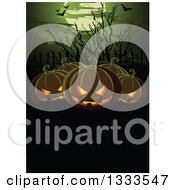Clipart Of A Halloween Background With Flying Bats A Full Moon Bare Branches And Jackolantern Pumpkins Over Text Space Royalty Free Vector Illustration by Pushkin