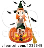 Clipart Of A Cute Red Haired White Witch Girl Sitting On A Giant Jackolantern Pumpkin With Bats In The Background Royalty Free Vector Illustration