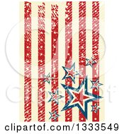 Distressed Grungy American Background With Vertical Red And Tan Stripes And Stars