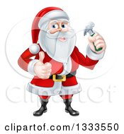 Poster, Art Print Of Happy Christmas Santa Claus Carpenter Holding A Hammer And Giving A Thumb Up 2