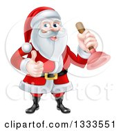 Clipart Of A Happy Christmas Santa Claus Plumber Holding A Plunger And Giving A Thumb Up 2 Royalty Free Vector Illustration