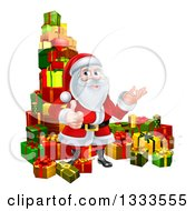 Clipart Of A Cartoon Santa Claus Presenting And Giving A Thumb Up By Stacked Christmas Gifts 2 Royalty Free Vector Illustration