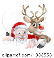 Clipart Of A Cartoon Christmas Santa Claus And Red Nosed Reindeer Pointing Down Over A Sign Royalty Free Vector Illustration