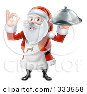 Clipart Of A Happy Christmas Santa Claus Chef Gesturing Ok And Holding A Food Cloche Platter 2 Royalty Free Vector Illustration