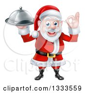 Clipart Of A Happy Christmas Santa Claus Chef Gesturing Ok And Holding A Food Cloche Platter 3 Royalty Free Vector Illustration