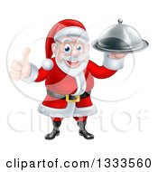 Clipart Of A Happy Christmas Santa Claus Chef Holding A Food Cloche Platter And Thumb Up Royalty Free Vector Illustration