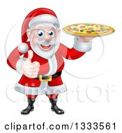 Clipart Of A Cartoon Christmas Santa Claus Giving A Thumb Up And Holding A Pizza Royalty Free Vector Illustration