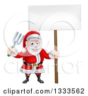 Clipart Of A Cartoon Santa Holding A Blank Sign And Garden Fork Royalty Free Vector Illustration