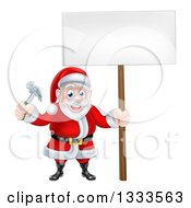 Clipart Of A Happy Christmas Santa Claus Carpenter Holding A Hammer And Blank Sign 3 Royalty Free Vector Illustration