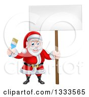 Clipart Of A Christmas Santa Claus Holding A Blue Paintbrush And Sign Royalty Free Vector Illustration