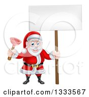 Clipart Of A Happy Christmas Santa Claus Plumber Holding A Plunger And Blank Sign 3 Royalty Free Vector Illustration