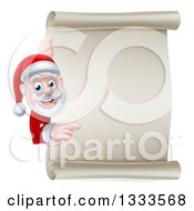 Clipart Of A Cartoon Christmas Santa Claus Looking And Pointing Around A Blank Parchment Scroll Royalty Free Vector Illustration