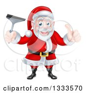 Clipart Of A Christmas Santa Claus Giving A Thumb Up And Holding A Window Cleaning Squeegee 3 Royalty Free Vector Illustration