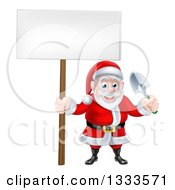Clipart Of A Cartoon Santa Holding A Blank Sign And A Garden Trowel Royalty Free Vector Illustration