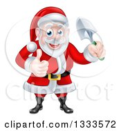 Clipart Of A Cartoon Santa Giving A Thumb Up And Holding A Garden Trowel Royalty Free Vector Illustration