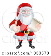 Clipart Of A Cartoon Christmas Santa Claus Giving A Thumb Up And Holding A Scroll List Royalty Free Vector Illustration