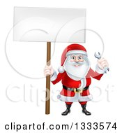 Clipart Of A Happy Christmas Santa Holding A Spanner Wrench And Blank Sign 2 Royalty Free Vector Illustration