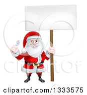Clipart Of A Happy Christmas Santa Holding An Adjustable Wrench And Blank Sign 2 Royalty Free Vector Illustration