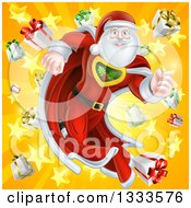 Super Hero Santa Claus Running In A Christmas Suit Over A Star Burst With Gifts 2