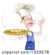 Clipart Of A White Male Chef With A Curling Mustache Holding A Pizza And Gesturing Ok Royalty Free Vector Illustration
