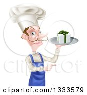 Clipart Of A White Male Chef With A Curling Mustache Holding A Gift On A Platter And Pointing Royalty Free Vector Illustration