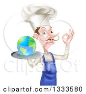 Clipart Of A White Male Chef With A Curling Mustache Holding Earth On A Platter And Gesturing Ok Royalty Free Vector Illustration