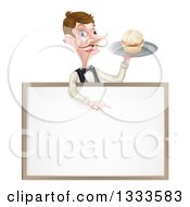 Cartoon Caucasian Male Waiter With A Curling Mustache Holding A Cupcake On A Tray And Pointing Down Over A White Menu Sign Board