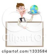 Cartoon Caucasian Male Waiter With A Curling Mustache Holding Earth On A Tray And Pointing Down Over A Blank Menu Sign Board