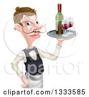 Cartoon Caucasian Male Waiter With A Curling Mustache Holding Red Wine On A Tray