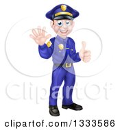 Cartoon Happy Caucasian Male Police Officer Waving And Giving A Thumb Up