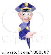 Clipart Of A Cartoon Happy Caucasian Male Police Officer Pointing Around A Sign Royalty Free Vector Illustration