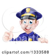 Clipart Of A Cartoon Happy Caucasian Male Police Officer Giving A Thumb Up Over A Sign Royalty Free Vector Illustration