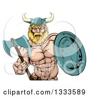 Clipart Of A Cartoon Tough Muscular Blond Male Viking Warrior Holding An Axe And Shield Royalty Free Vector Illustration by AtStockIllustration